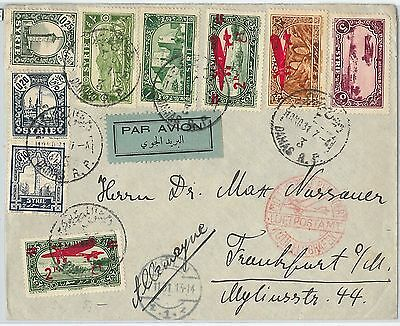 58955 - SYRIA - POSTAL HISTORY: OVERPRINTED AIRMAIL STAMPS on COVER to GERMANY