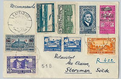 SYRIA - POSTAL HISTORY: OVERPRINTED  REVENUE STAMPS on COVER to SWEDEN 1950