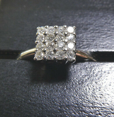 18ct 750 WHITE GOLD 16 DIAMOND BED SQUARE LADIES CLUSTER RING SIZE N