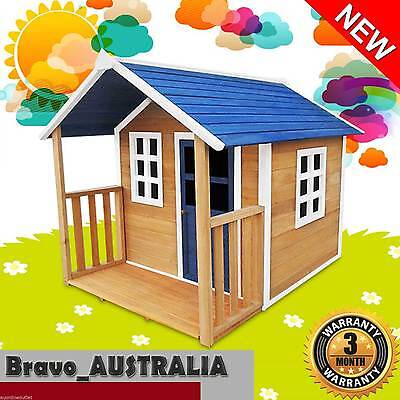 Wooden Cubby House Kids Outdoor Playhouse Fort with Windows and Verandah