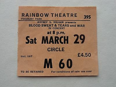 Blood Sweat and Tears Concert Ticket 1980