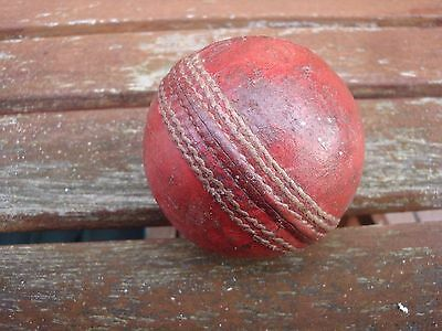 Vintage Used Red Leather Cricket Ball