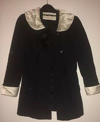 60s Style Black Jacket By TopShop Peter Pan Collar Sz 8 Twiggy Jackie O Mad Men