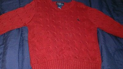 polo ralph lauren red cotton crewneck sweater size 7 long sleeved