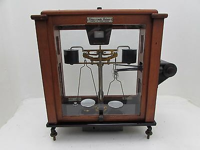 Vintage L Oertling Releas-O-Matic Balance Apothecary Scales In Cabinet Mod.125A