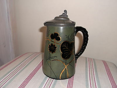 Antique Jug with Hinged Pewter Lid -  Hand Painted Decoration