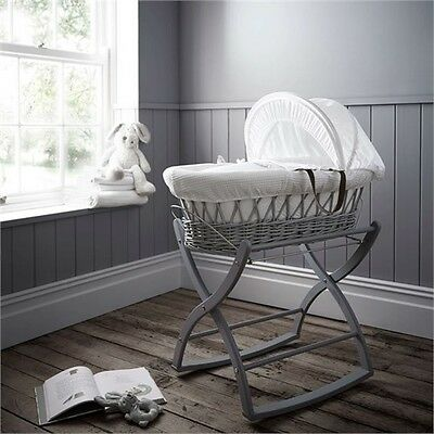 New boxed Izziwotnot grey wicker moses basket white gift with grey rocking stand
