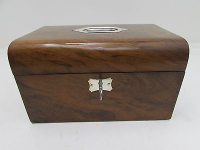 Antique Campaign Style Walnut Sewing Box / Jewellery / Trinket Box With Key