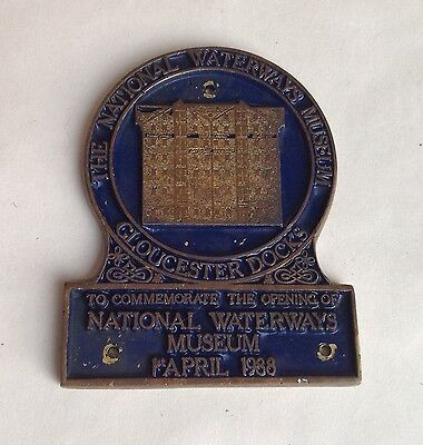 National Waterways Museum - BRASS PLAQUE for opening of GLOUCESTER DOCKS 1988