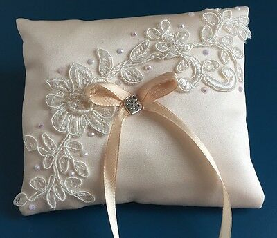 Champagne Wedding Ring Pillow Cushion Holder Bearer Beaded Lace Bow Heart Pocket