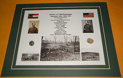 Battle of Chickamauga Civil War Relic Display Fired Bullet & Flat Button