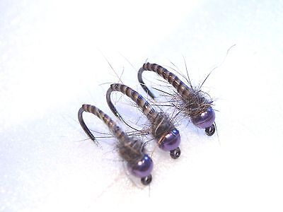 3 Purple Tungsten Grayling Quill Bugs/Flies - Size 16 Barbless