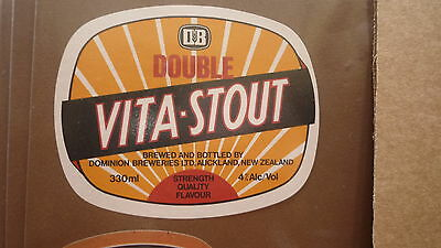 OLD NEW ZEALAND BEER LABEL, DOMINION BREWERY, DOUBLE VITA STOUT, 330ml