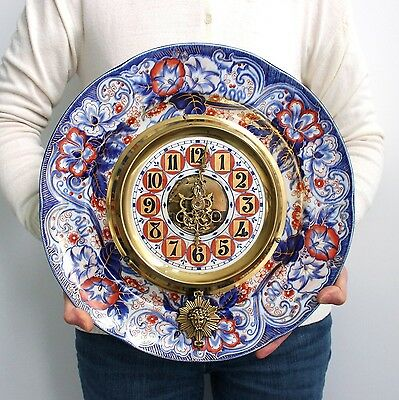 EUGENE FARCOT IMARI Antique Wall French UNUSUAL Clock 1870s Porcelain Bell CHIME