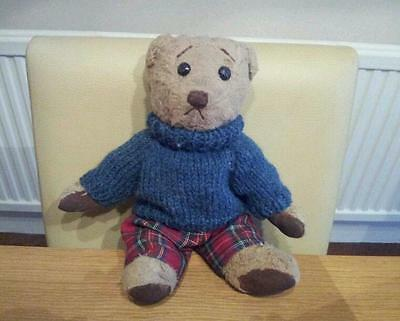Hand Knitted Jumper for Teddy Bear - Blue - teddy clothes