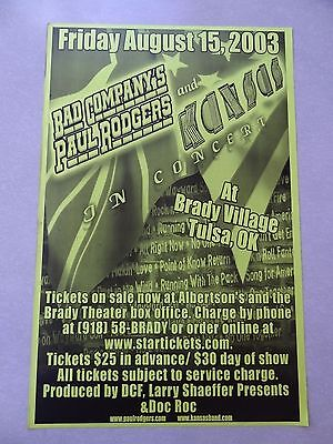Paul Rodgers Bad Company concert Poster flyer 11x17 Kansas 2003 green
