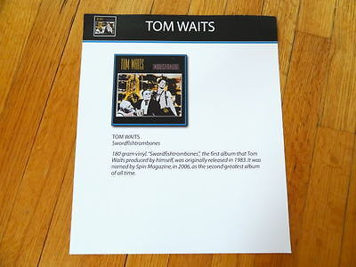 TOM WAITS swordfishtrombones RECORD BIN CARD collectible 12 x 14
