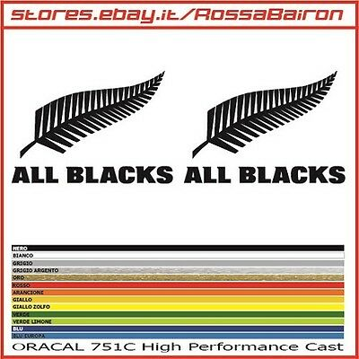KIT 2 ADESIVI ALL BLACKS NEW ZEALAND RUGBY mm.50x35 -  DECALS PEGATINAS STICKERS