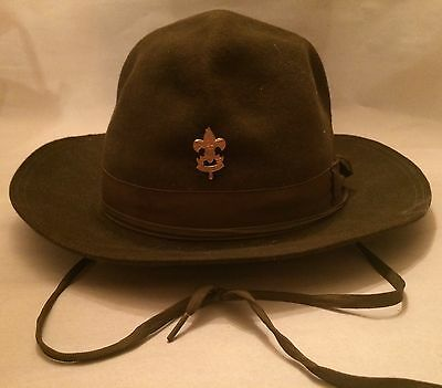 Boy Scout Scoutmaster Campaign Hat Brown Felt Wool Size 7 1930s Vintage