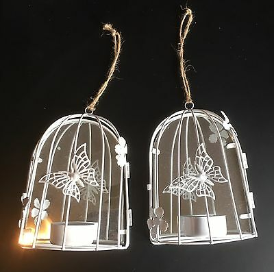Pair Of Birdcage / Butterfly Tea Light Candle Holders