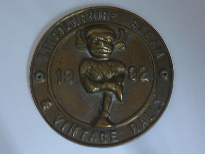 Brass plaque - Lincolnshire Steam & Vintage Rally 1992 with Lincoln Imp