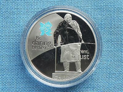 Proof Five Pounds £5 Olympics Celebration Britain Courage Churchill 2010