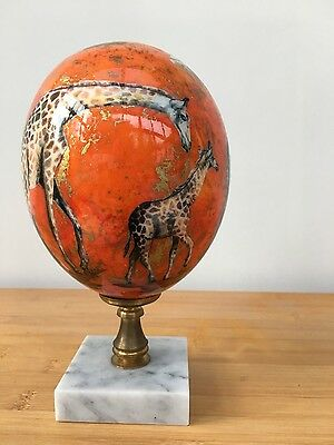 Large Painted  Ostritch Egg with brass and marble stand - features Giraffes - 21
