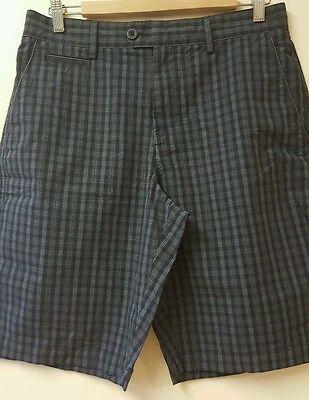 M&S Blue Harbour Navy Check Shorts 32W