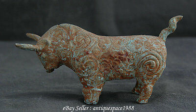 Antique Old Bronze Dynasty Collect Zodiac Year Flight Bull Oxen Statue Sculpture