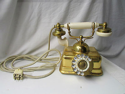 Vintage & Original French Porcelain and Brass Rotary Phone ~ Made in Denmark