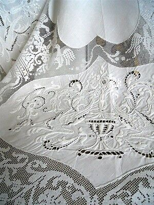 Antique French 19Th-Century  Linen  Tablecloth Hand  Embroidered Museum