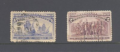USA Columbus 1892 varieties 2c brown; 4c ultramarine