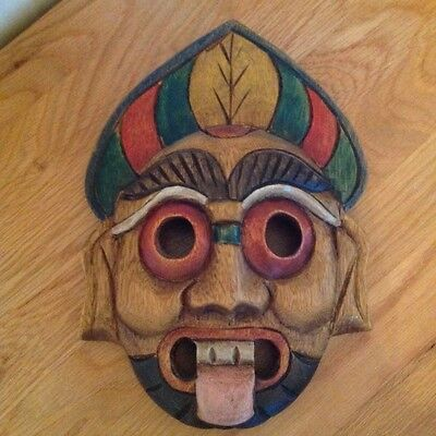 Vintage African Tribal Mask/wooden/colourful