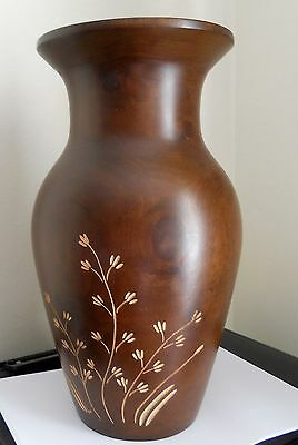 """Beautiful Turned and Hand Carved Mango Wood Vase - Nice knots & Grain 14"""" tall"""