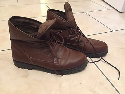 Vintage Brown Leather Women's Ankle Boots Size 7 EU 40
