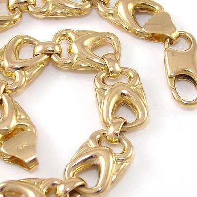 """Solid 14K Yellow Gold Heart Chain Link Bracelet 7"""" 8mm"""