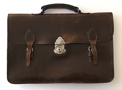 Vintage Leather Briefcase, 1940s / 1950s