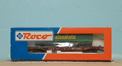 """ROCO HO well wagon in DB livery with 2-axle tilt trailer """"Malenstein"""""""