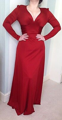 Red 70s 30s 40s Maxis Dress Pin Up Steampunk Noir Fatale Couture Vamp Vintage