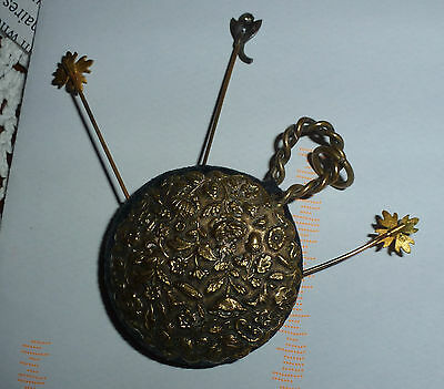 Victorian chatelaine pin cushion with 3 Art Nouveau pins