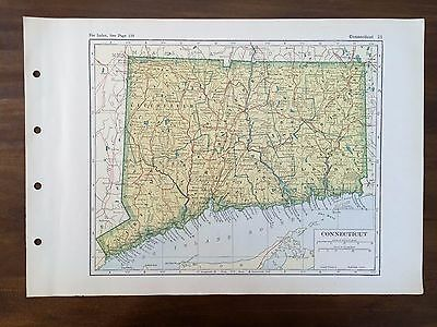 Vintage 1928 Original Map State of Connecticut, Winston Atlas of the World