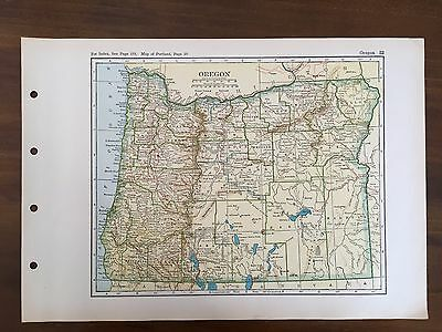 Vintage 1928 Original Map of the State of Oregon Winston Atlas of the World