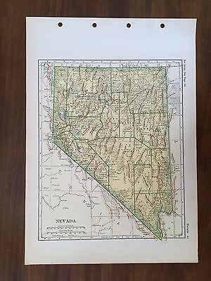 1928 Original Map of the State of Nevada Winston Atlas of the World