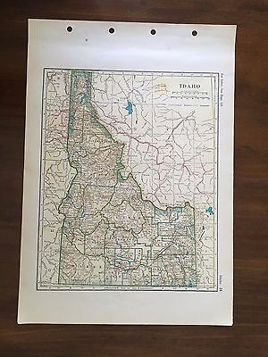 Vintage 1928 Original Map of the State of Idaho, Winston Atlas of the World