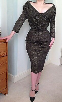 Collectif Hollie Lurex Pin Up Rockabilly Vamp Couture Dress Vintage 1950s Wiggle