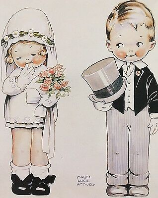 Mabel Lucie Attwell Blank Greeting Card - Bride and Groom
