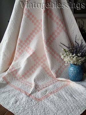 Incredible Quilting! Vintage 20s Peach Pink & White Postage Stamp QUILT 72x68""