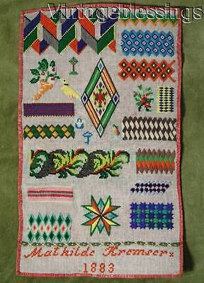 """ANTIQUE 1883 Sewing Stitches Sampler Found in Pennsylvania 19"""" x 11 1/4"""""""