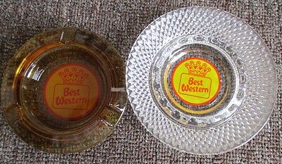 Two Vintage BEST WESTERN HOTELS Glass ASHTRAYS...NICE!,,,#2