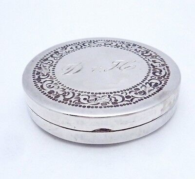Vintage Taxco Mexico Mexican Sterling Silver Compact Pill Trinket Box 22208